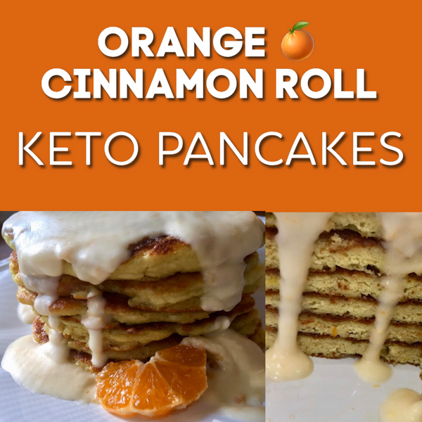 Orange Cinnamon Roll Keto Pancakes