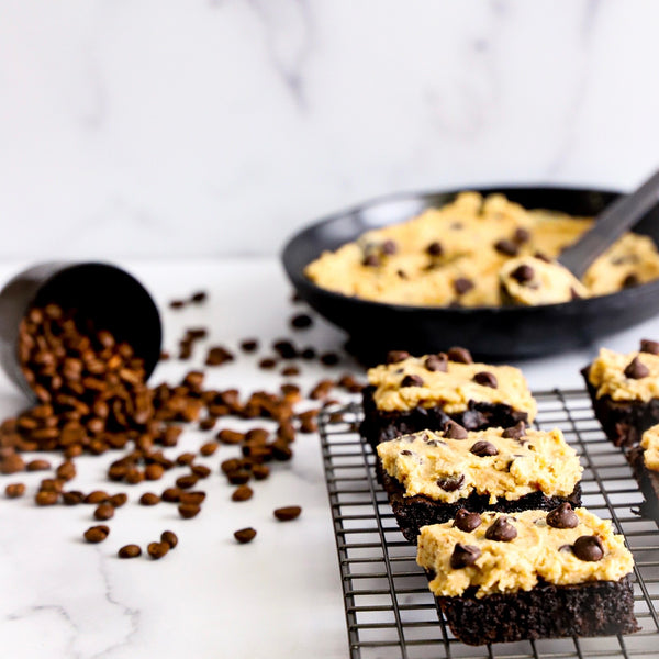 Keto Cappuccino Cookie Dough Brownies