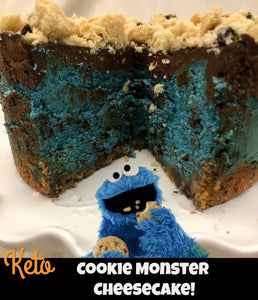 Keto Cookie Monster Cheesecake