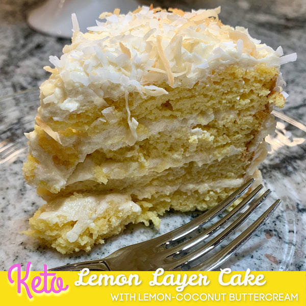 Keto Lemon Layer Cake with Lemon-Coconut Frosting