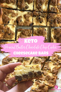 Keto Peanut Butter Chocolate Chip Cookie Cheesecake Bars