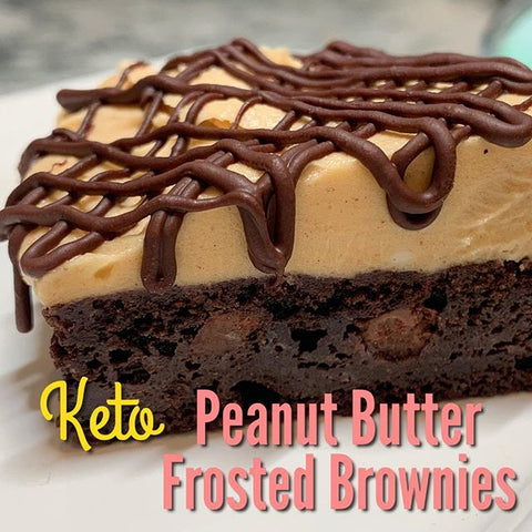 Keto Peanut Butter frosted Brownies