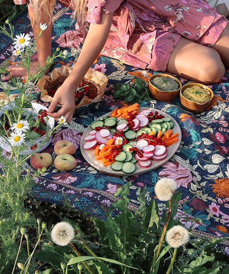 Wandering Folk Picnic Rug 'Emerald Forest' - Haven Botanical - byron bay