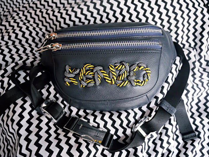 KENZO LEATHER CORD EMBROIDERY BUMBAG (Unfortunately, it's Sold Out already)