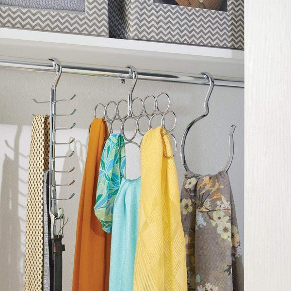 InterDesign Axis Vertical Closet Organizer Rack for Ties, Belts - Chrome