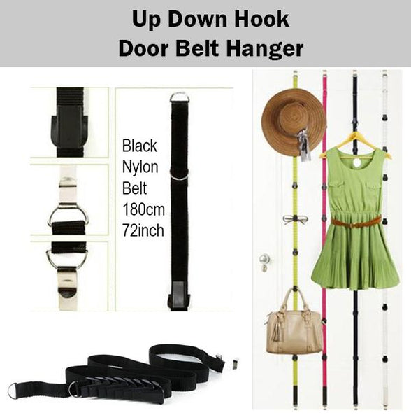 Up Down Hook Adjustable Stainless Organiser Organizer Door Hanger Bag Clothes