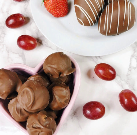 chocolate covered strawberries and grapes