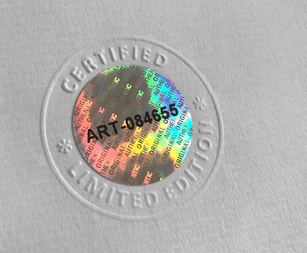 The hologram in the holographic certificate - The Declaration of Arbroath fine art gold metallic prints