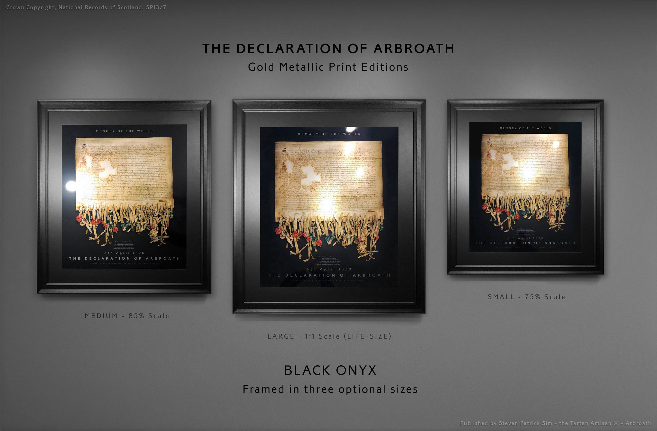 The Declaration of Arbroath Gold Laser Printed Metallic Editions - Black Onyx