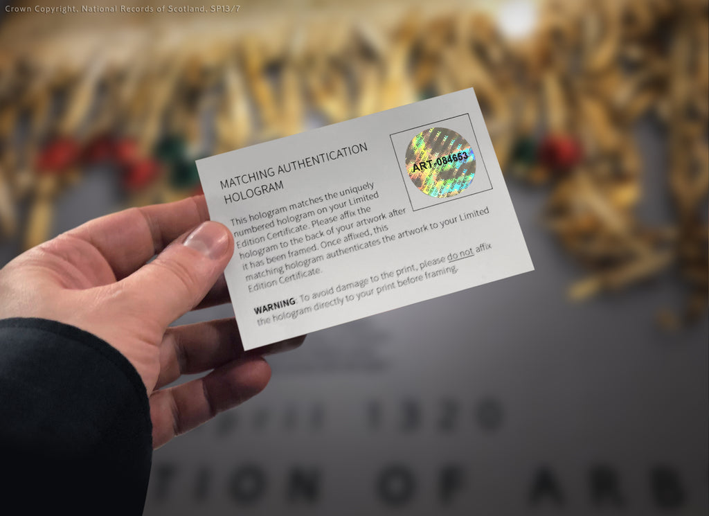 The serialised Holographic certificate - Declaration of Arbroath Gold Metallic prints