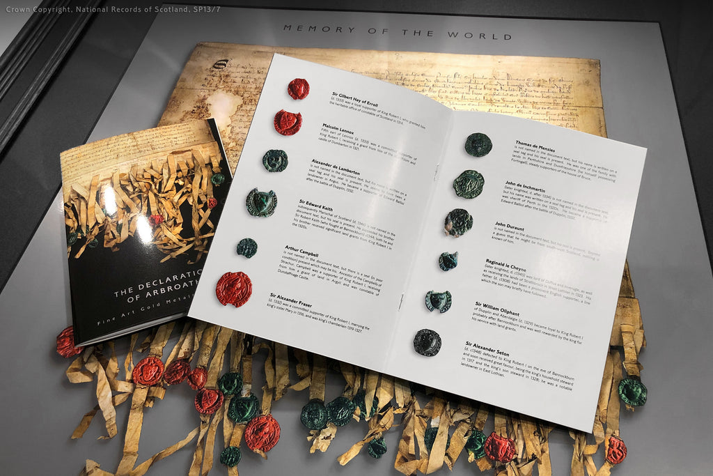 The seals and translations of the Declaration of Arbroath Gold metallic limited edition LED Laser print