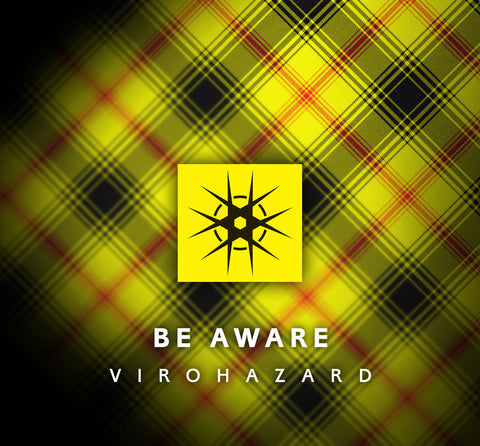 Virohazard Be Aware coronavirus tartan raising funds for NHS Scotland by Steven Patrick Sim