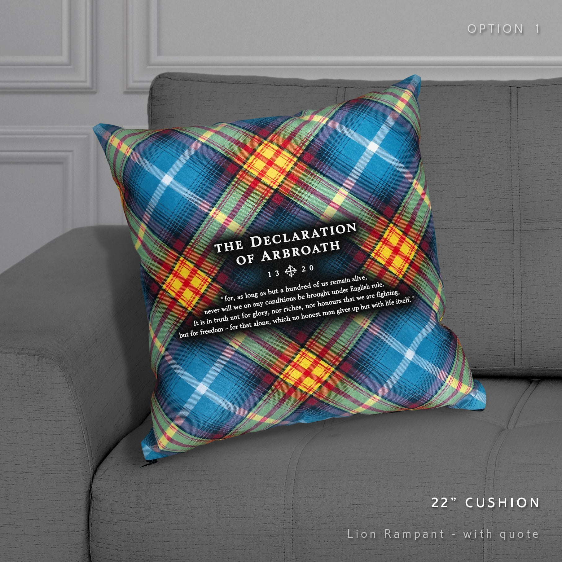Declaration of Arbroath tartan cushion by the Tartan Artisan