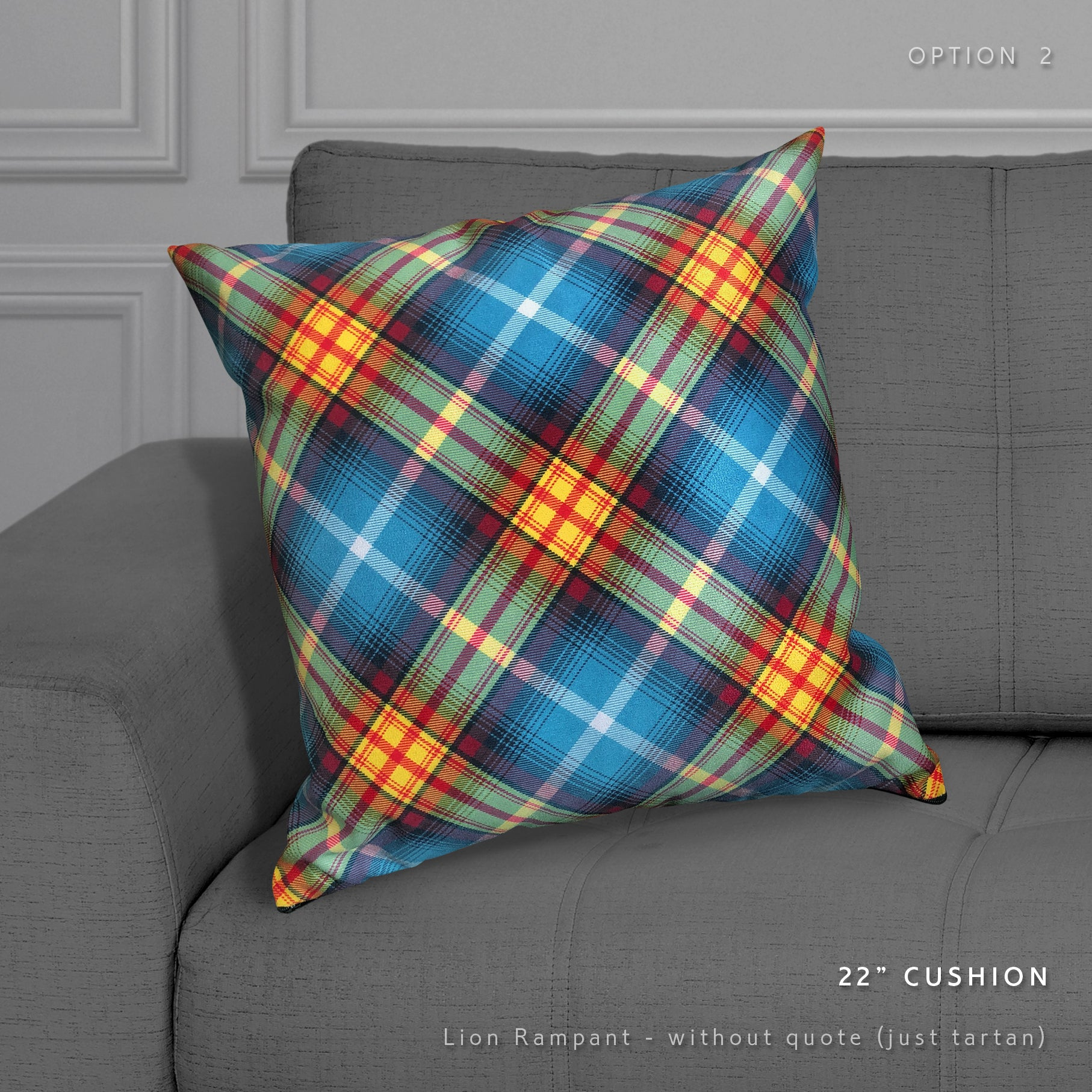 printed faux suede tartan pillow Arbroath Declaration