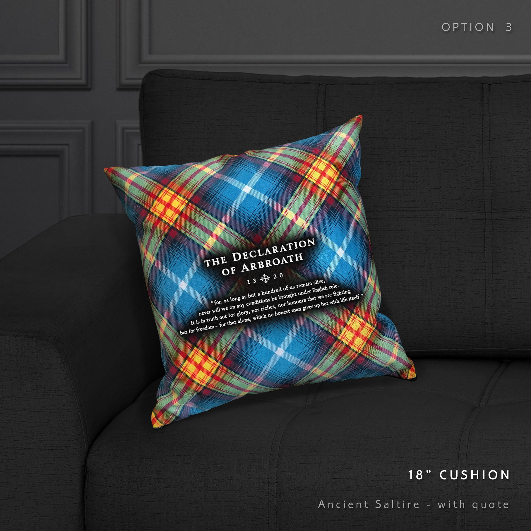 Faux Suede Tartan Declaration of Arbroath pillow