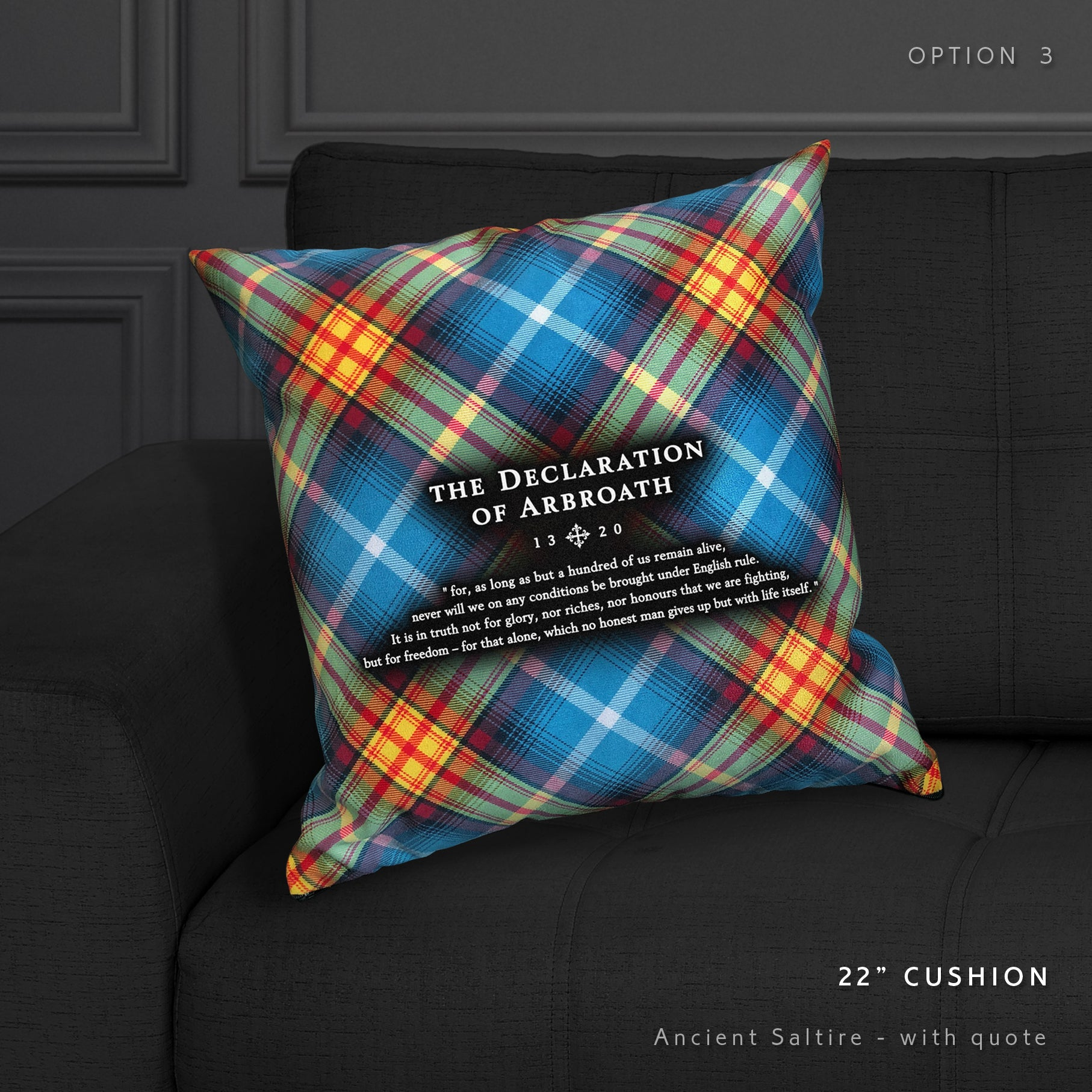 Tartan Arbroath Declaration cushion