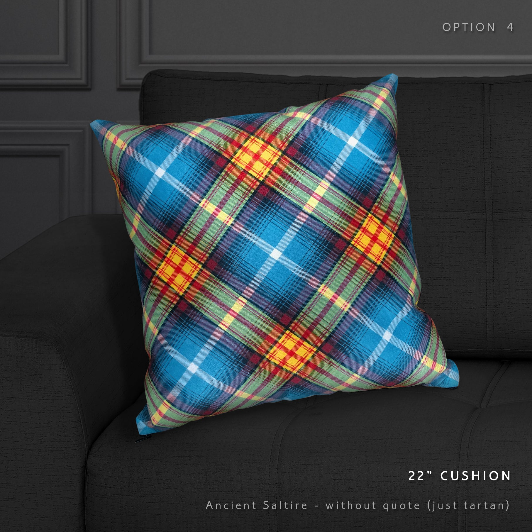The Declaration tartan faux Suede cushion by the Tartan Artisan, Arbroath