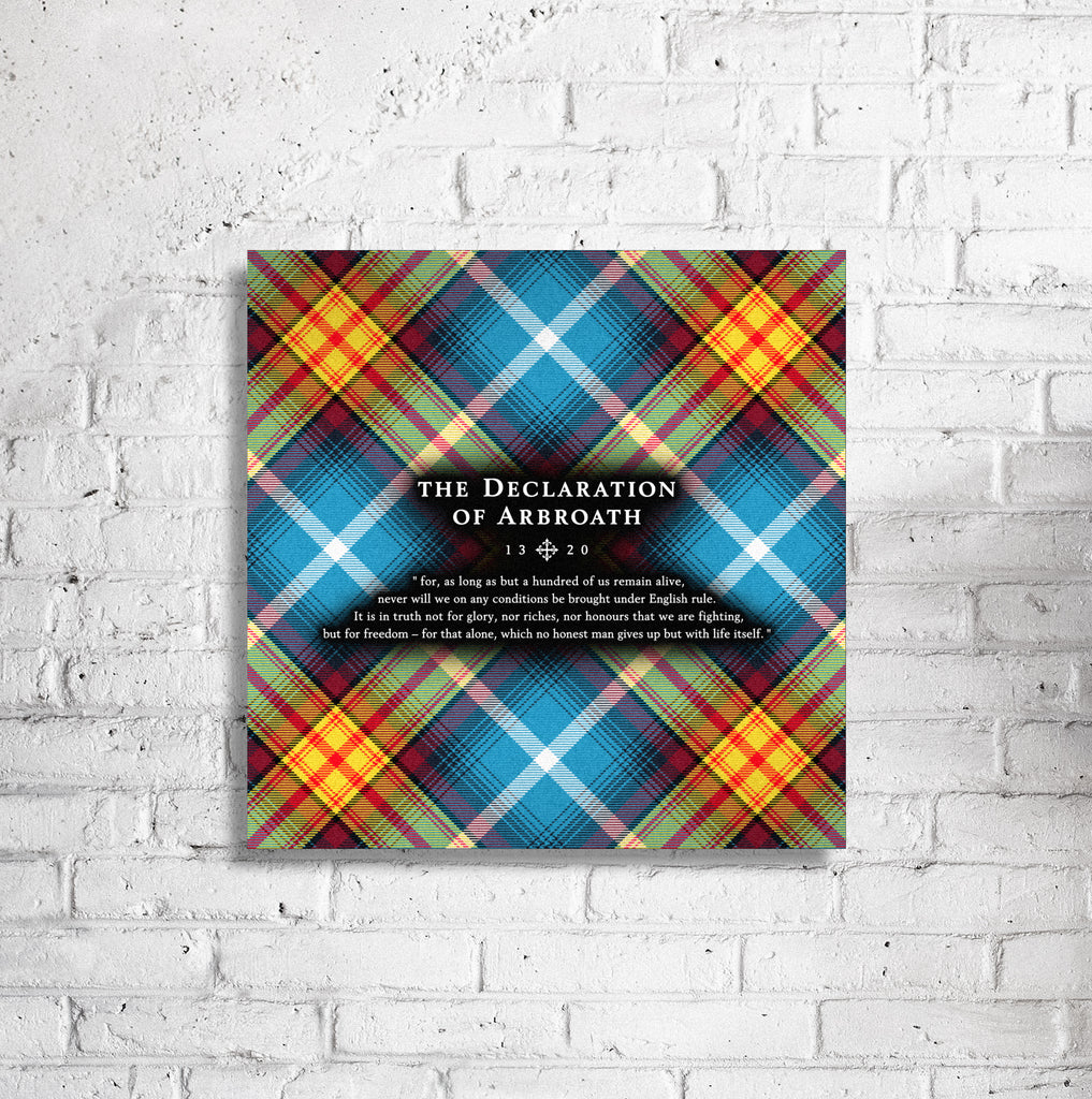 "Ancient Saltire - Declaration Tartan 16"" Stretched Canvas"