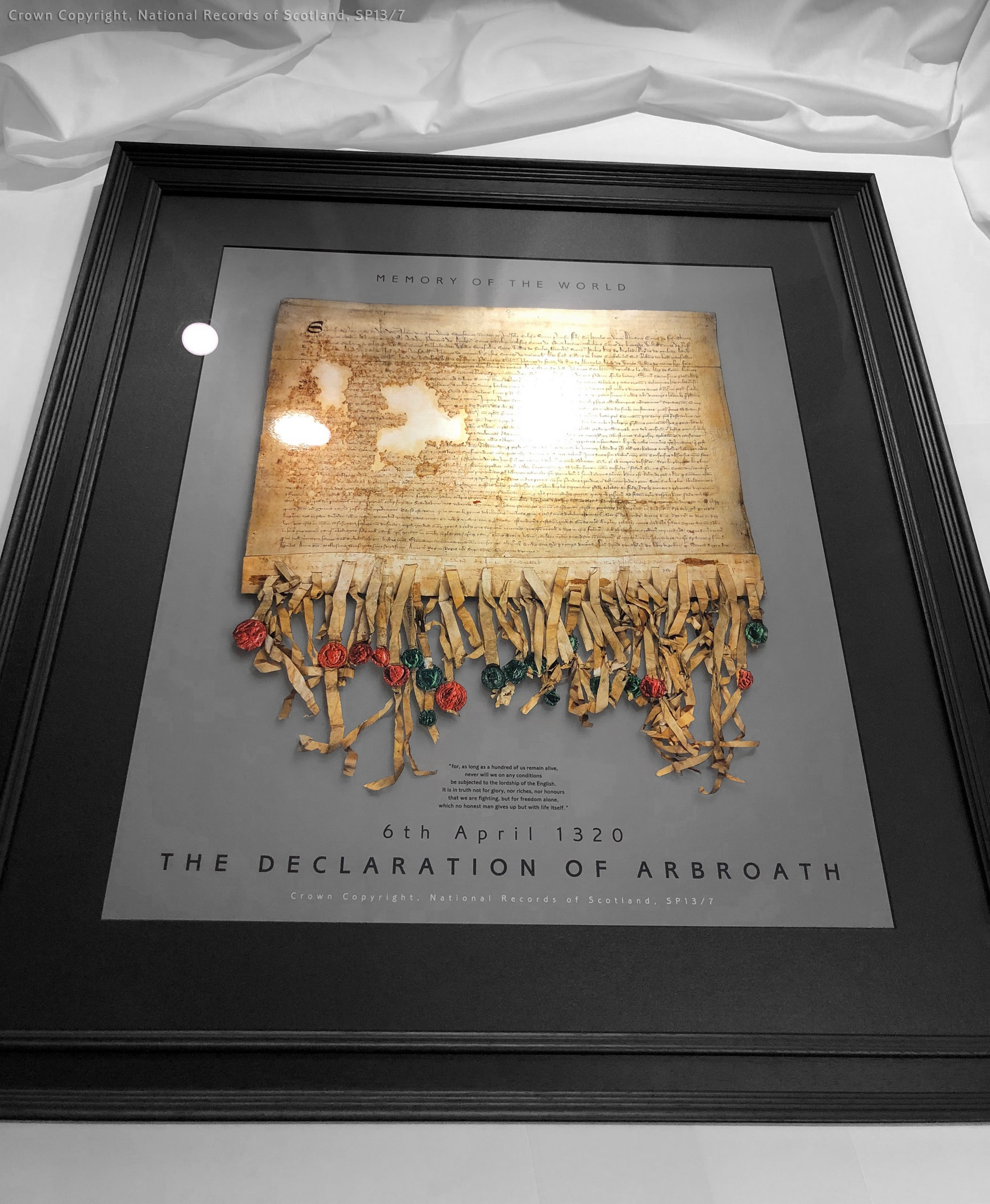 Fine Art Declaration of Arbroath framed metallic Pewter laser printed editions
