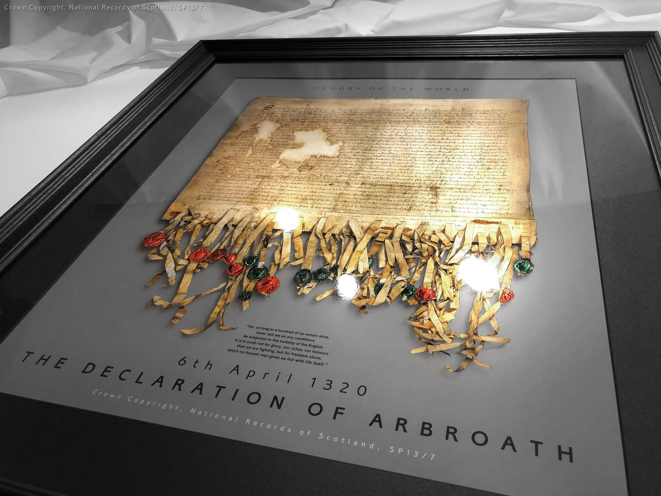 The Declaration of Arbroath Gold Metallic Print Editions - Pewter - with non reflective fine art glass