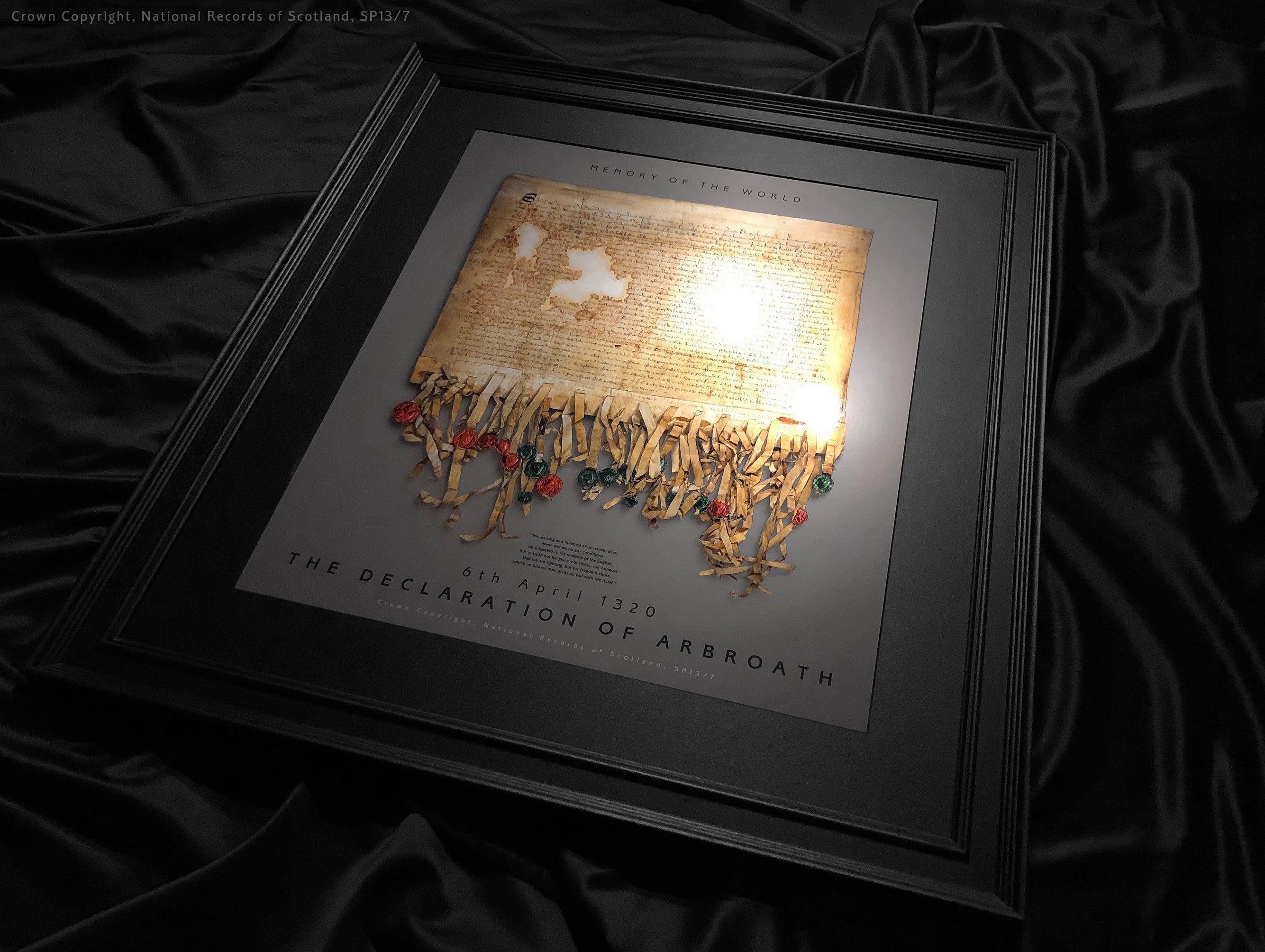 The Declaration of Arbroath Gold Metallic Prints - Limited Edition - laser printed Fine Art Metallic print! Certified by holographic certificate - Pewter