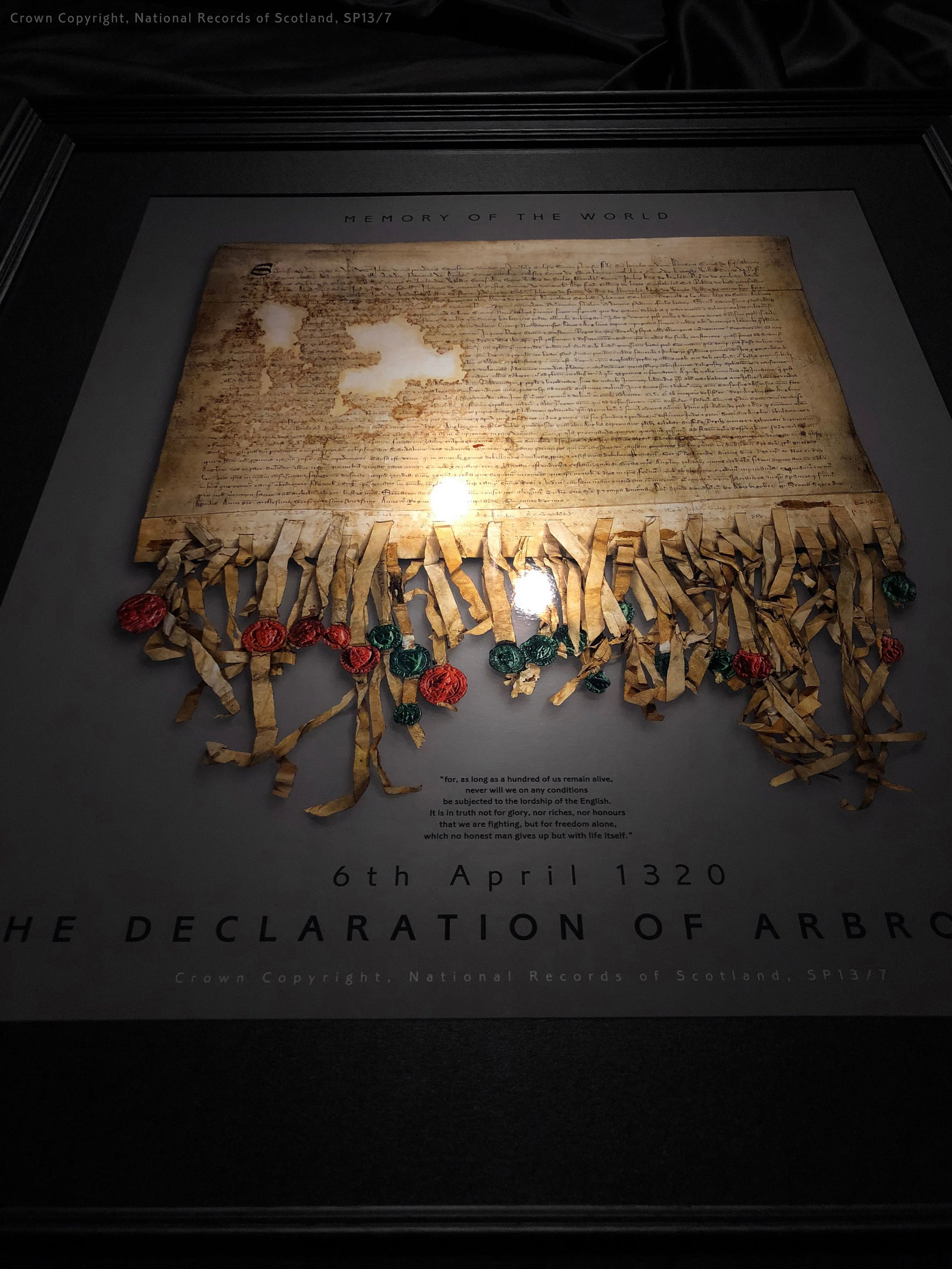 The Declaration of Arbroath Gold Metallic Print Editions - Pewter - with spotlight