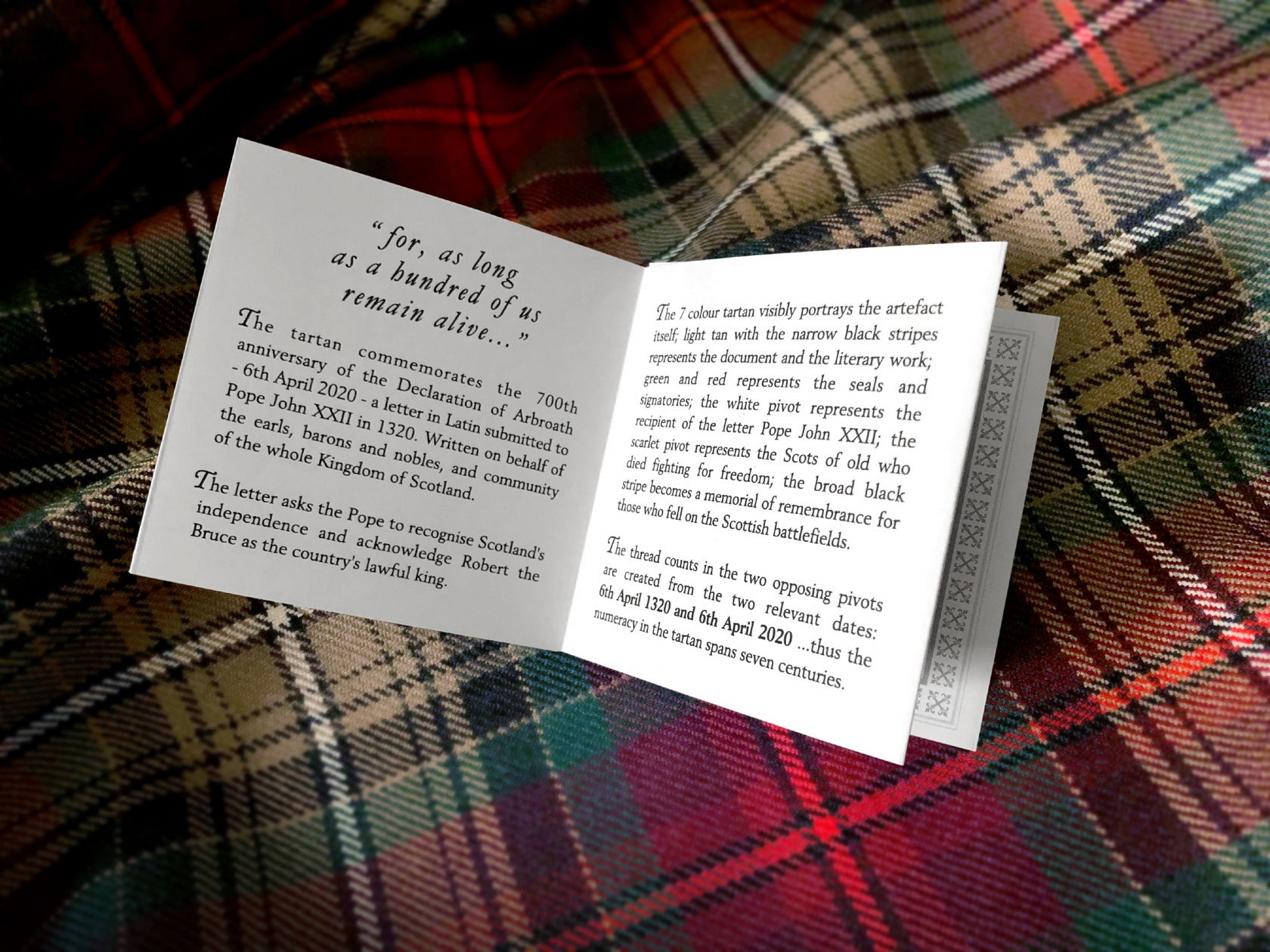 Declaration of Arbroath 7th Centennial Anniversary - Tartan Neck Tie - Numbered & Certified