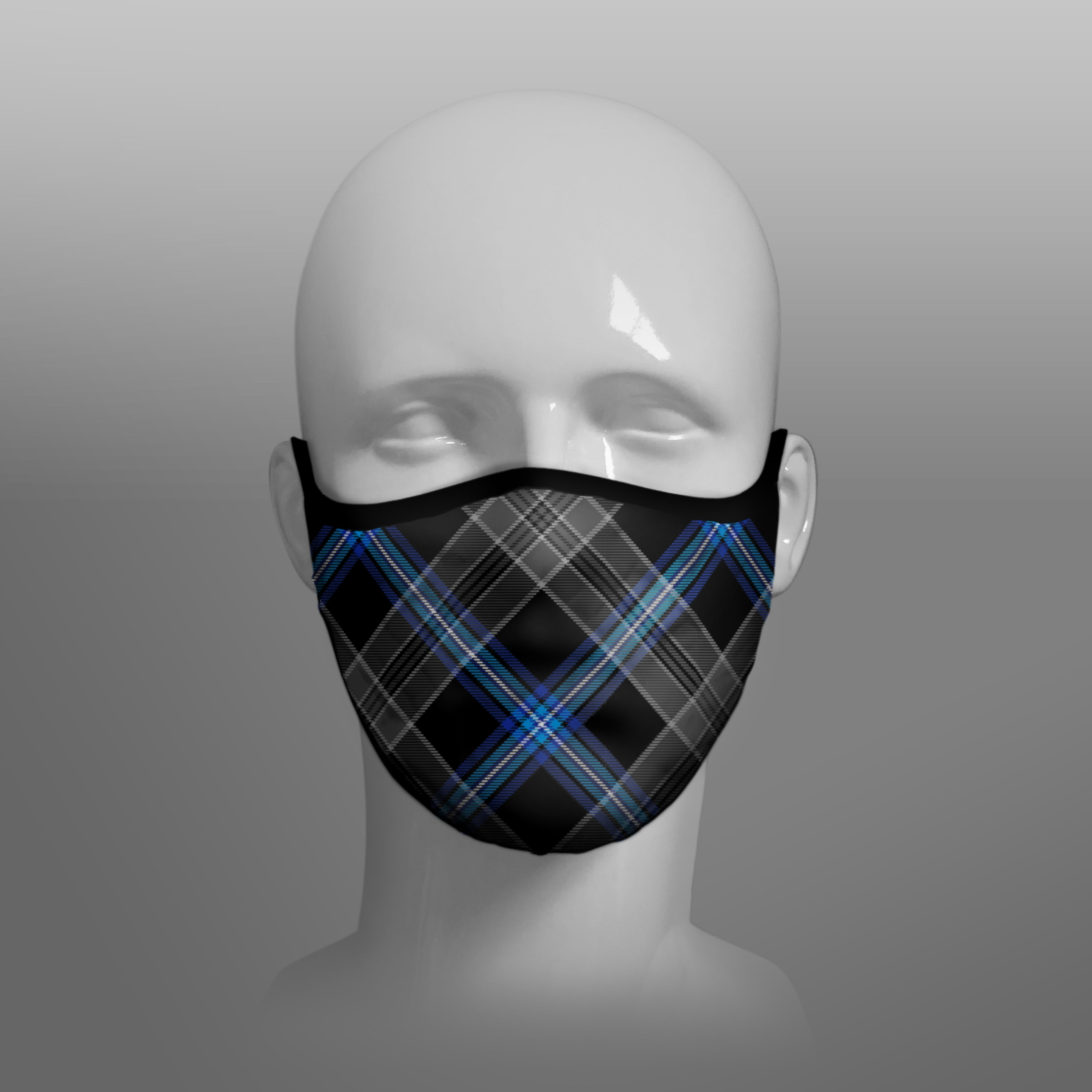 Earthrise Tartan custom face mask by Steven Patrick Sim