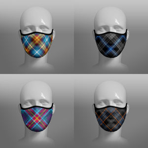 Tartan Face coverings face masks by Steven Patrick Sim the Tartan Artisan - including Declaration of Arbroath Scottish Independence - Earthrise - YES Alba Gu Brath - North Sea Oil