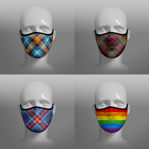 Tartan Face coverings contoured face masks by Steven Patrick Sim the Tartan Artisan - including Declaration of Scottish Independence - Arbroath 6th April 1320 - Gay Pride Rainbow Flag - YES Alba Gu Brath - four pack combo - small