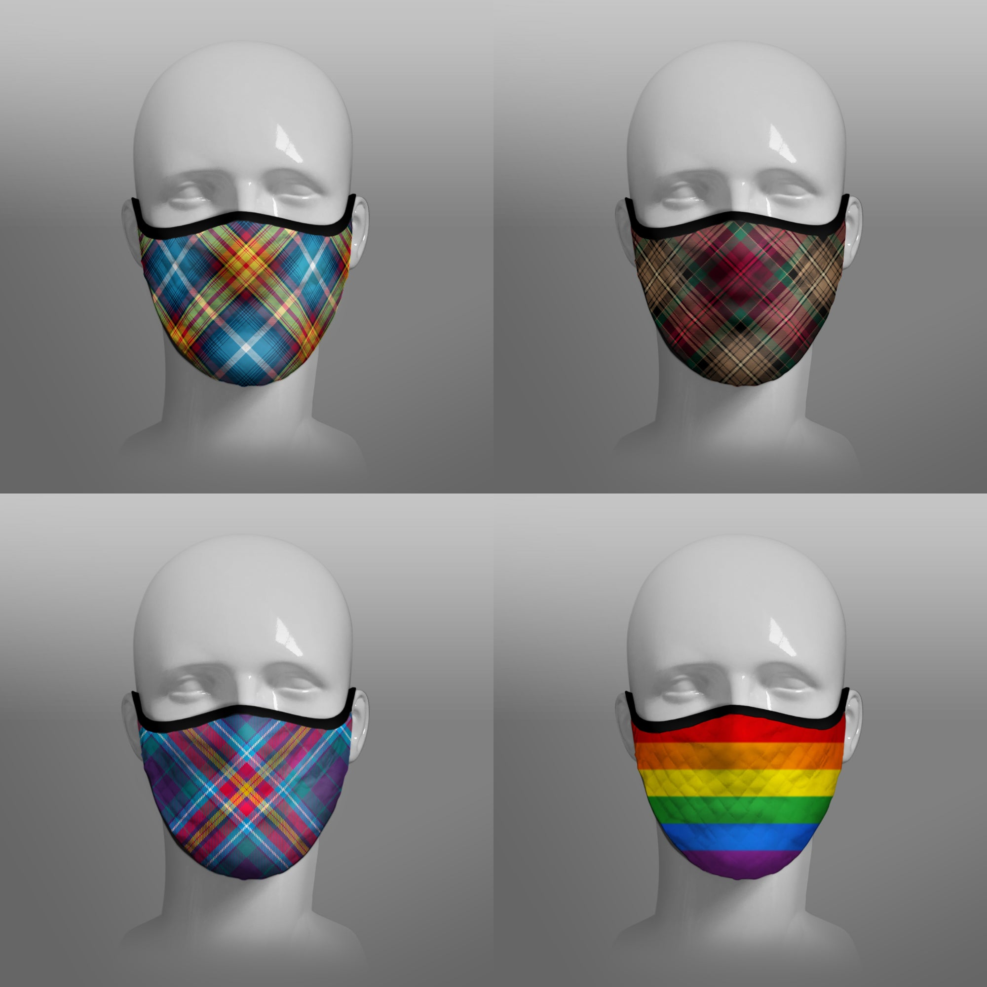 Tartan Face coverings contoured face masks by Steven Patrick Sim the Tartan Artisan - including Declaration of Scottish Independence - Arbroath 6th April 1320 - Gay Pride Rainbow Flag - YES Alba Gu Brath - four pack combo - extra large