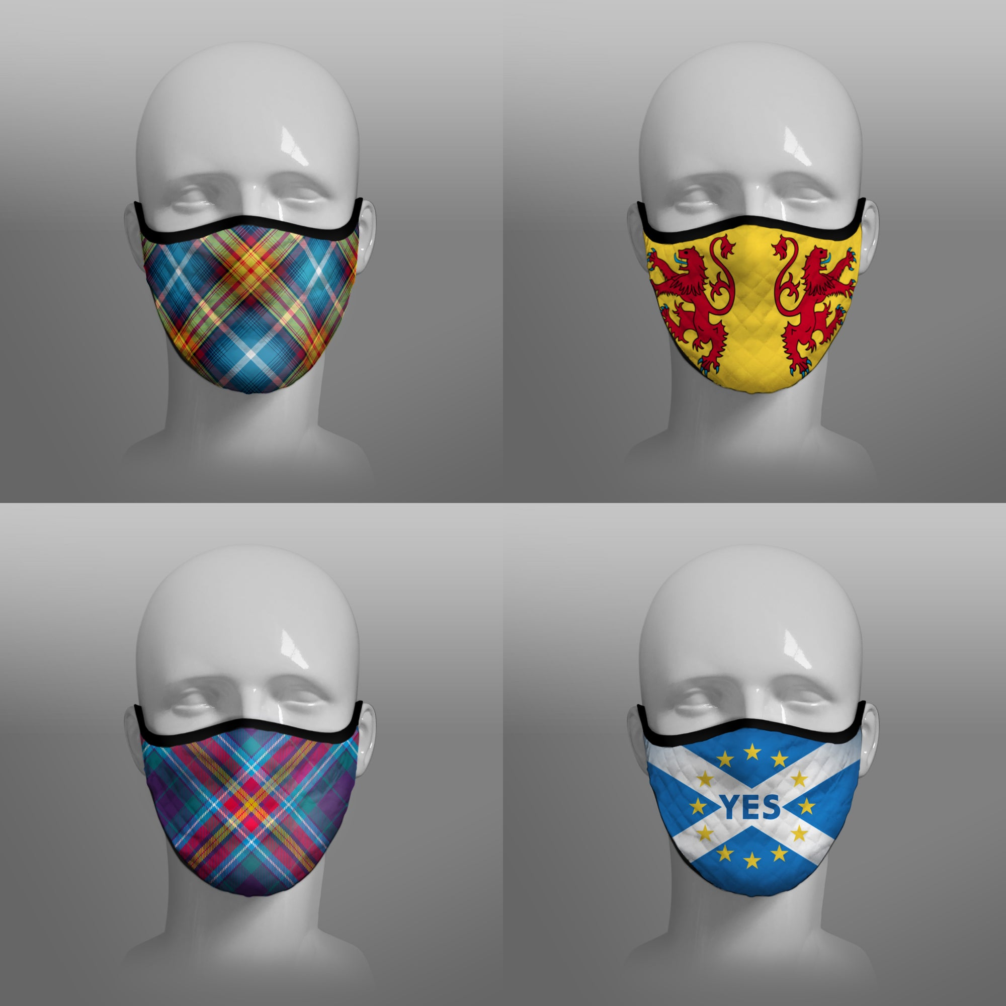 Tartan Face coverings face masks Covid 19 Covid-19 Pandemic Coronavirus Virus cough sneeze by Steven Patrick Sim the Tartan Artisan Stevie Tartan Guy - Nicola Sturgeon homeless - four pack combo - large - including Declaration of Arbroath Scottish Independence Saltire 6th April 1320 - YES It's Time Scots campaign Alba Gu Brath bràth - Pro EU - European Union Saltire - Lion Rampant Royal Standard of Scotland - four pack combo small