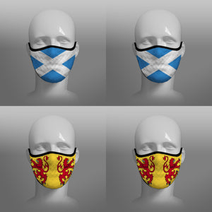 Face coverings - small face masks by Steven Patrick Sim the Tartan Artisan - including The Scottish Saltire and the Lion Rampant of Scotland