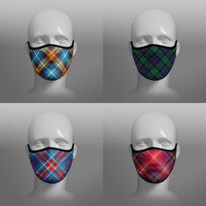 Tartan Face coverings face masks by Steven Patrick Sim the Tartan Artisan - including Declaration of Arbroath Scottish Independence - Red Lichtie - YES Alba Gu Brath - Black Watch