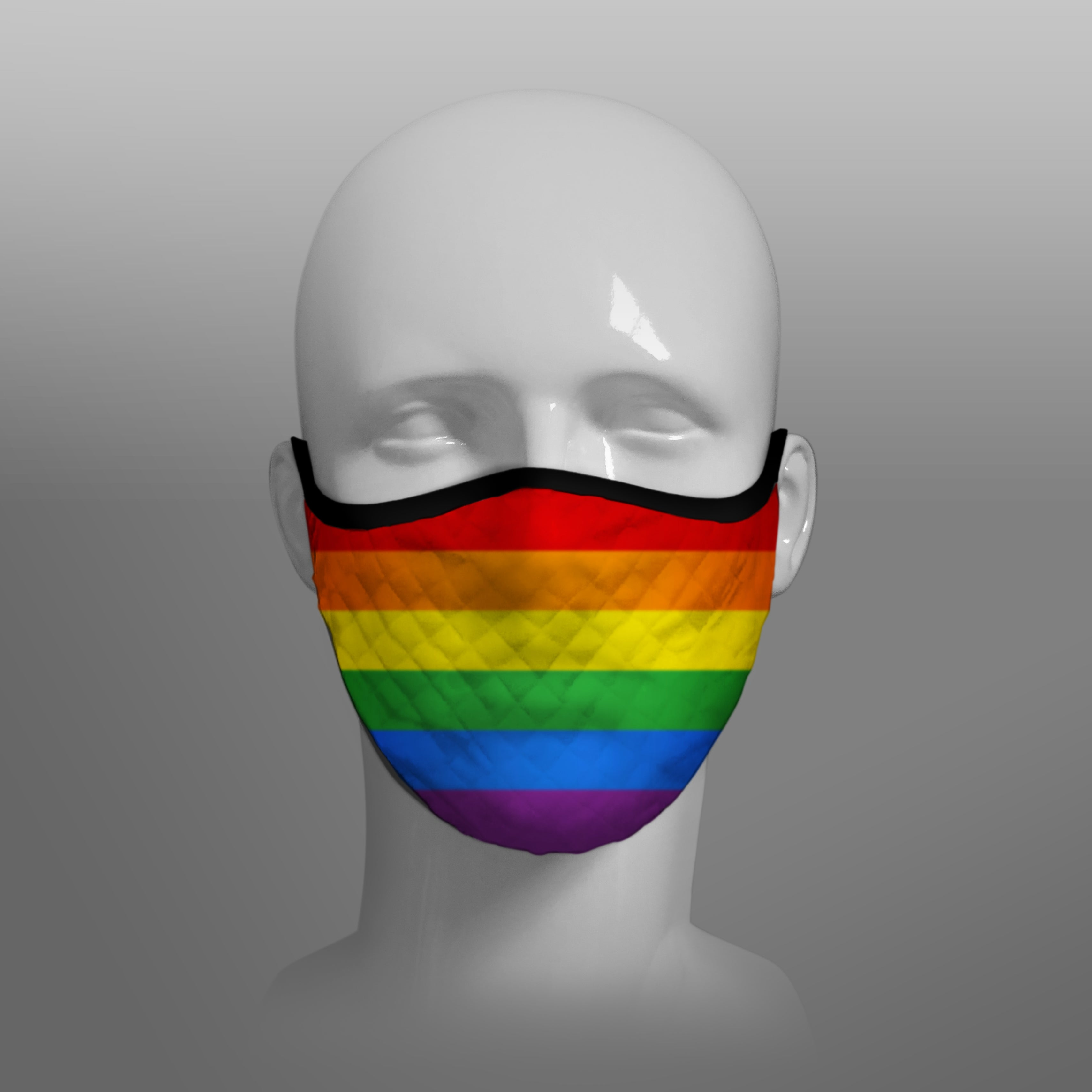 Gay Pride Rainbow Flag Contoured Tartan - Scottish Saltire - Face Mask cloth face covering extra large