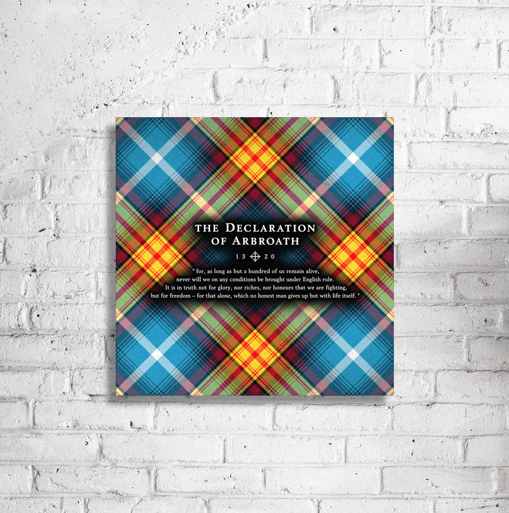 "Lion Rampant - Declaration Tartan 16"" Stretched Canvas"