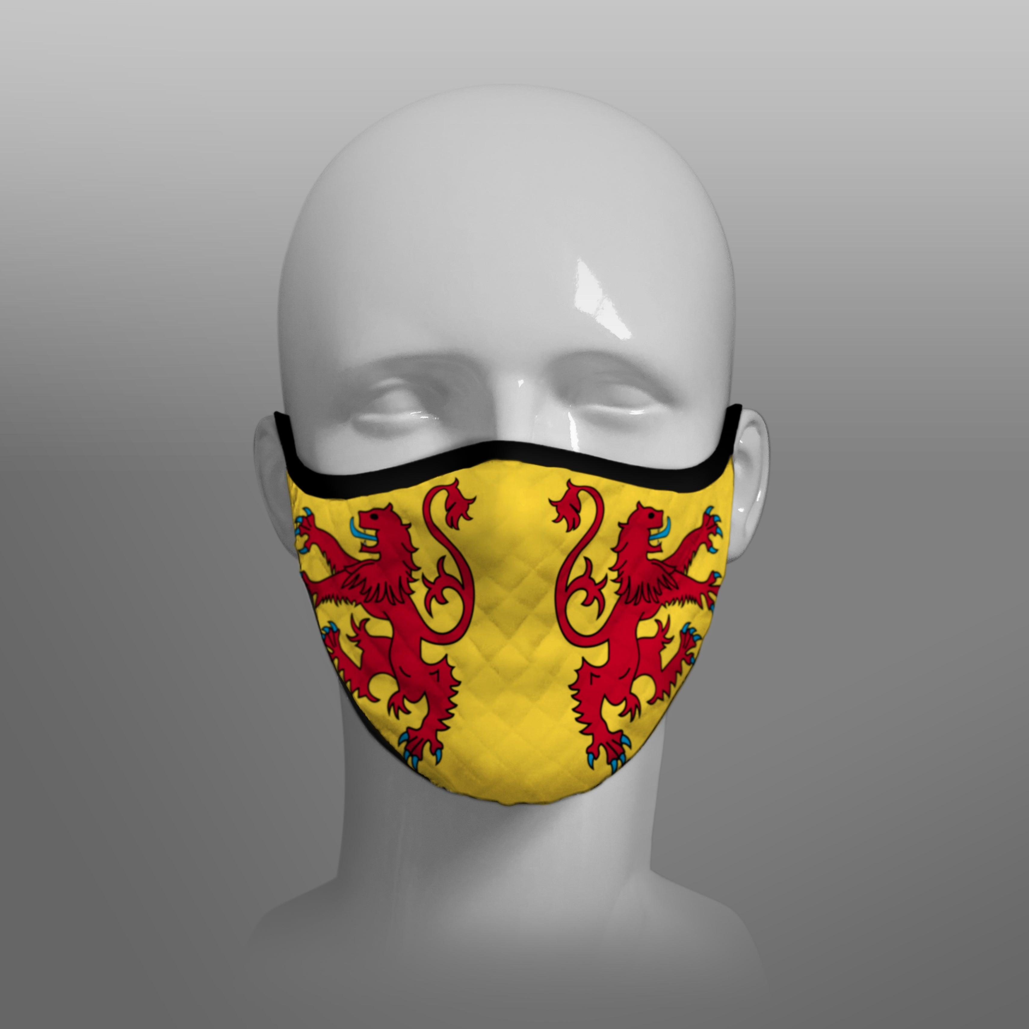 Contoured Face Mask - face covering - Nicola Sturgeon - Scottish Lion Rampant Royal Standard of Scotland - by Steven Patrick Sim the Tartan Artisan - Stevie Tartan Guy - medium