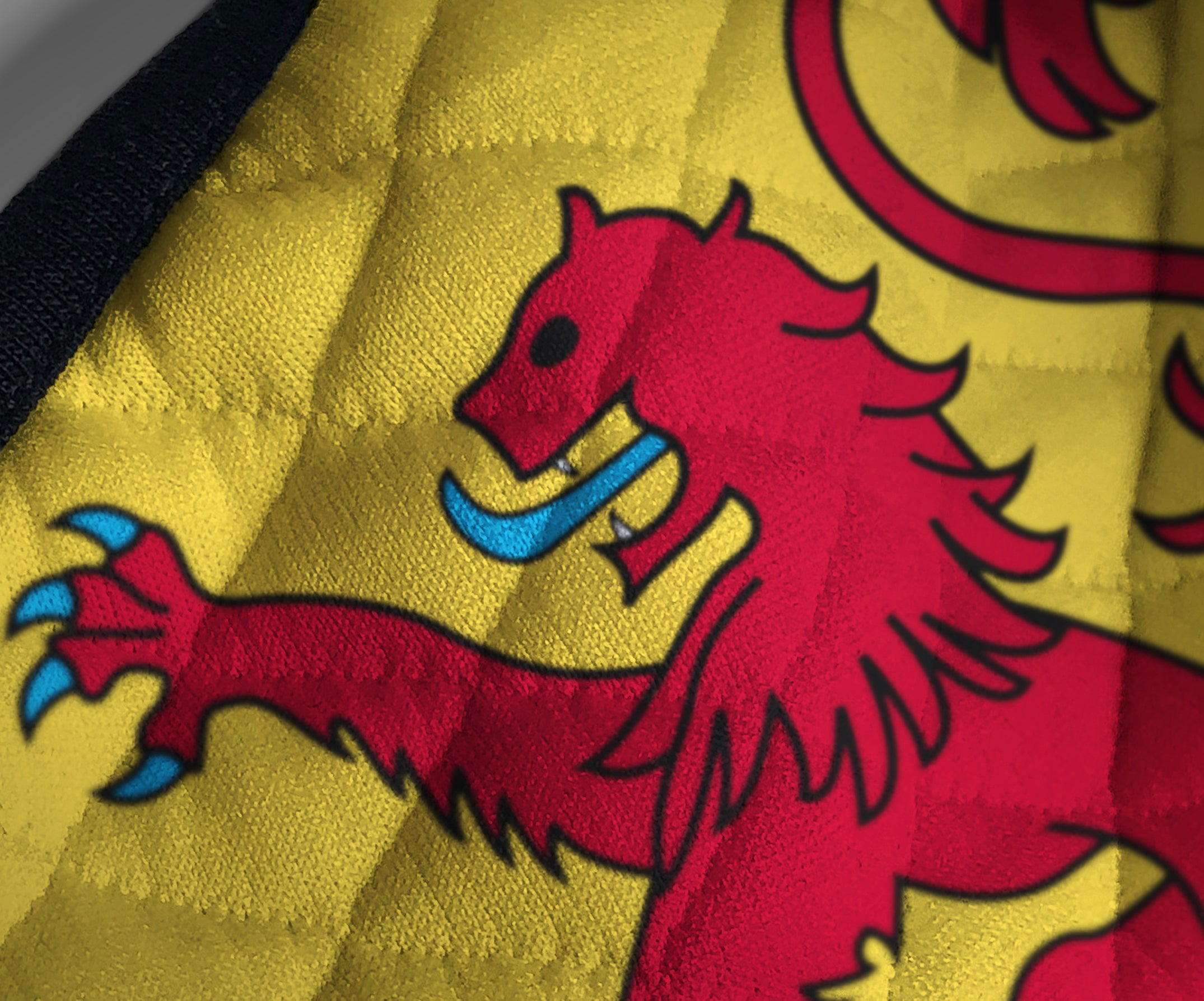 Contoured Face Mask - face covering - Nicola Sturgeon - Scottish Lion Rampant Royal Standard of Scotland - by Steven Patrick Sim the Tartan Artisan - Stevie Tartan Guy - printed fabric 1 - medium