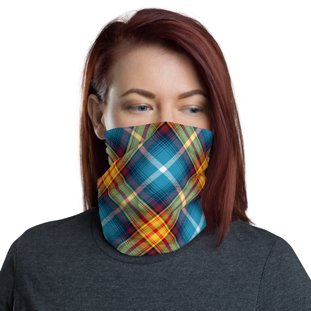 Lion Rampant and ancient azure Saltire Declaration of Scottish Independence tartan Neck Gaiter 10