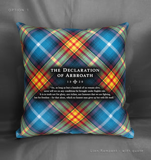 Lion Rampant themed Declaration of Arbroath tartan cushion