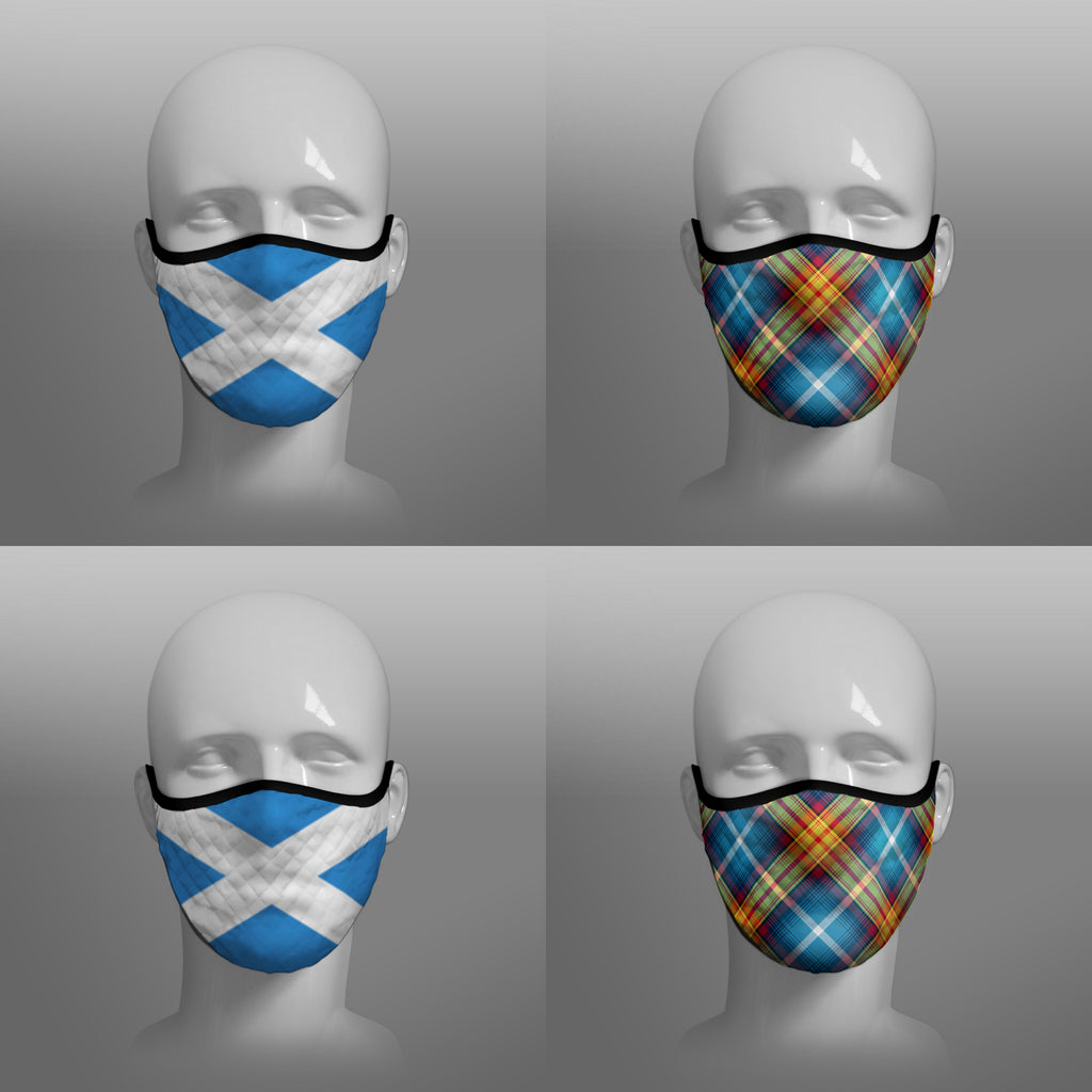 The Declaration of Scottish Independence Arbroath 6th April 1320 Contoured Tartan - YES IT'S TIME - Alba Gu Brath - Pro EU - European Union - Nicola Sturgeon - Scottish Saltire - Face Mask - face covering - by Steven Patrick Sim the Tartan Artisan - Stevie Tartan Guy - mixed pack of 4