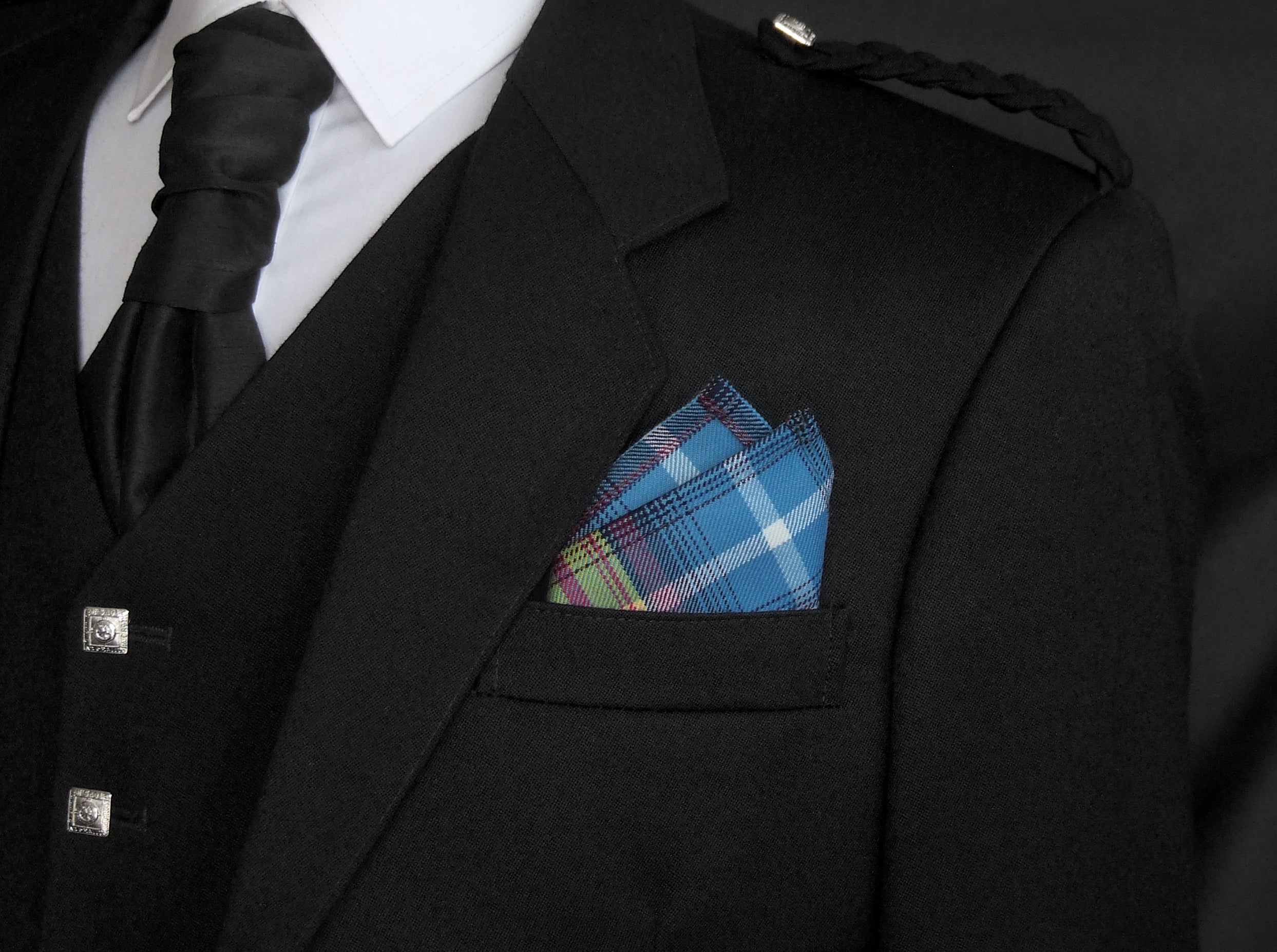 The Declaration tartan pocket square with Saltire design
