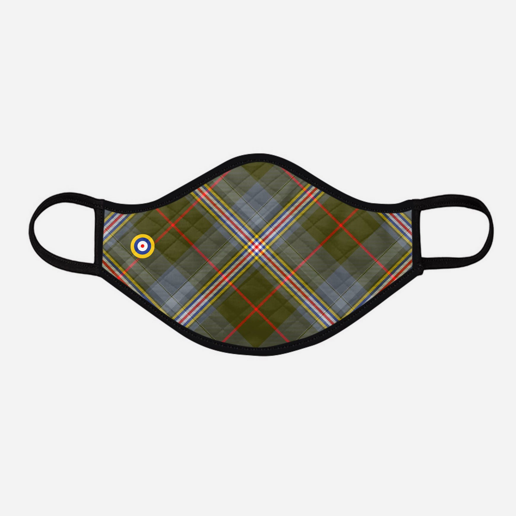 Red Lichtie Spitfire EP121 Montrose Air Station Heritage Centre Tartan custom printed face mask - Large with badge - by the Steven Patrick Sim Tartan Artisan - Stevie Tartan Guy Arbroath, Scotland with Nicola Sturgeon - mixed pack of 4 or 2