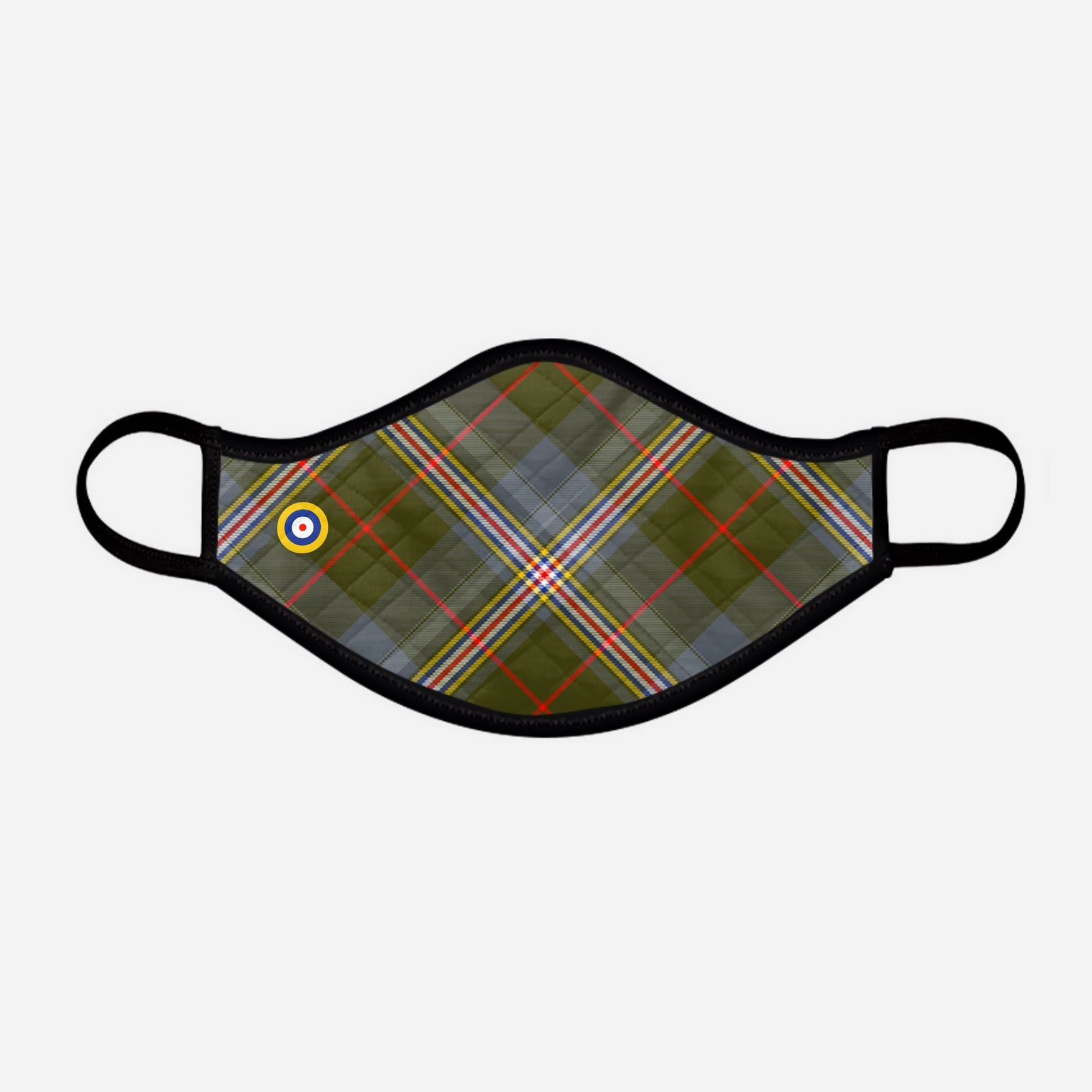 Red Lichtie Spitfire EP121 Montrose Air Station Heritage Centre Tartan custom printed face mask - Medium with badge - by the Steven Patrick Sim Tartan Artisan - Stevie Tartan Guy Arbroath, Scotland with Nicola Sturgeon - mixed pack of 4 or 2
