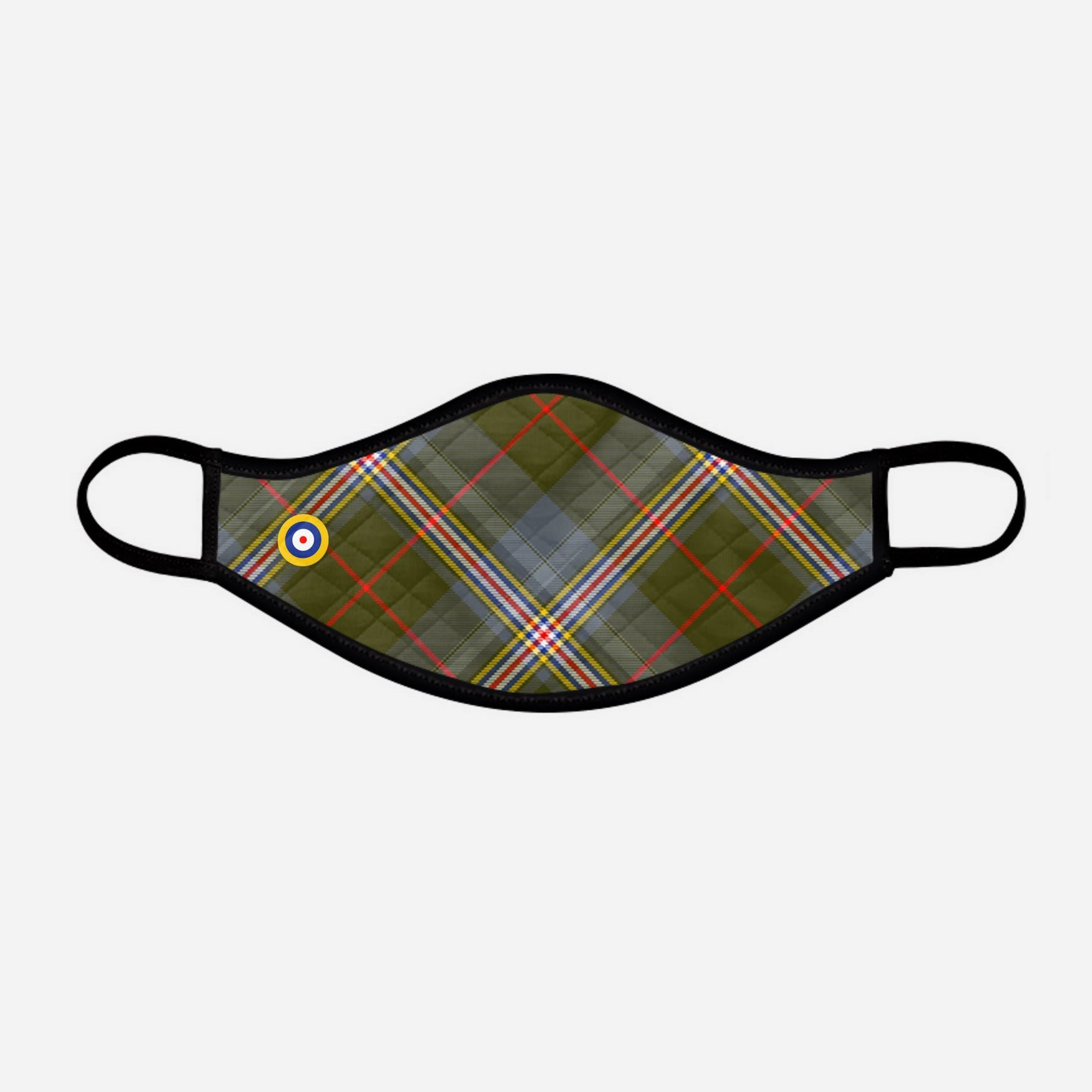 Red Lichtie Spitfire EP121 Montrose Air Station Heritage Centre Tartan custom printed face mask - Small with badge - by the Steven Patrick Sim Tartan Artisan - Stevie Tartan Guy Arbroath, Scotland with Nicola Sturgeon - mixed pack of 4 or 2
