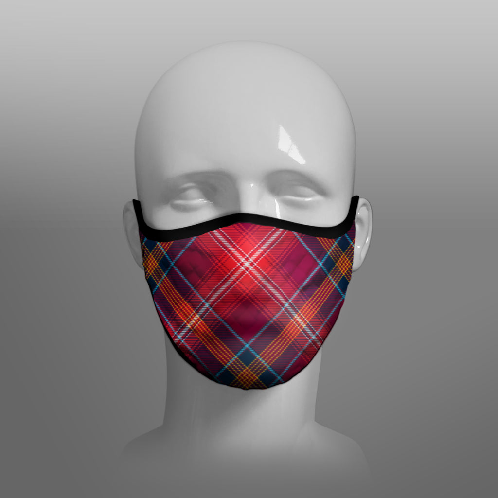 Red Lichtie Tartan custom face mask by Steven Patrick Sim - with badge