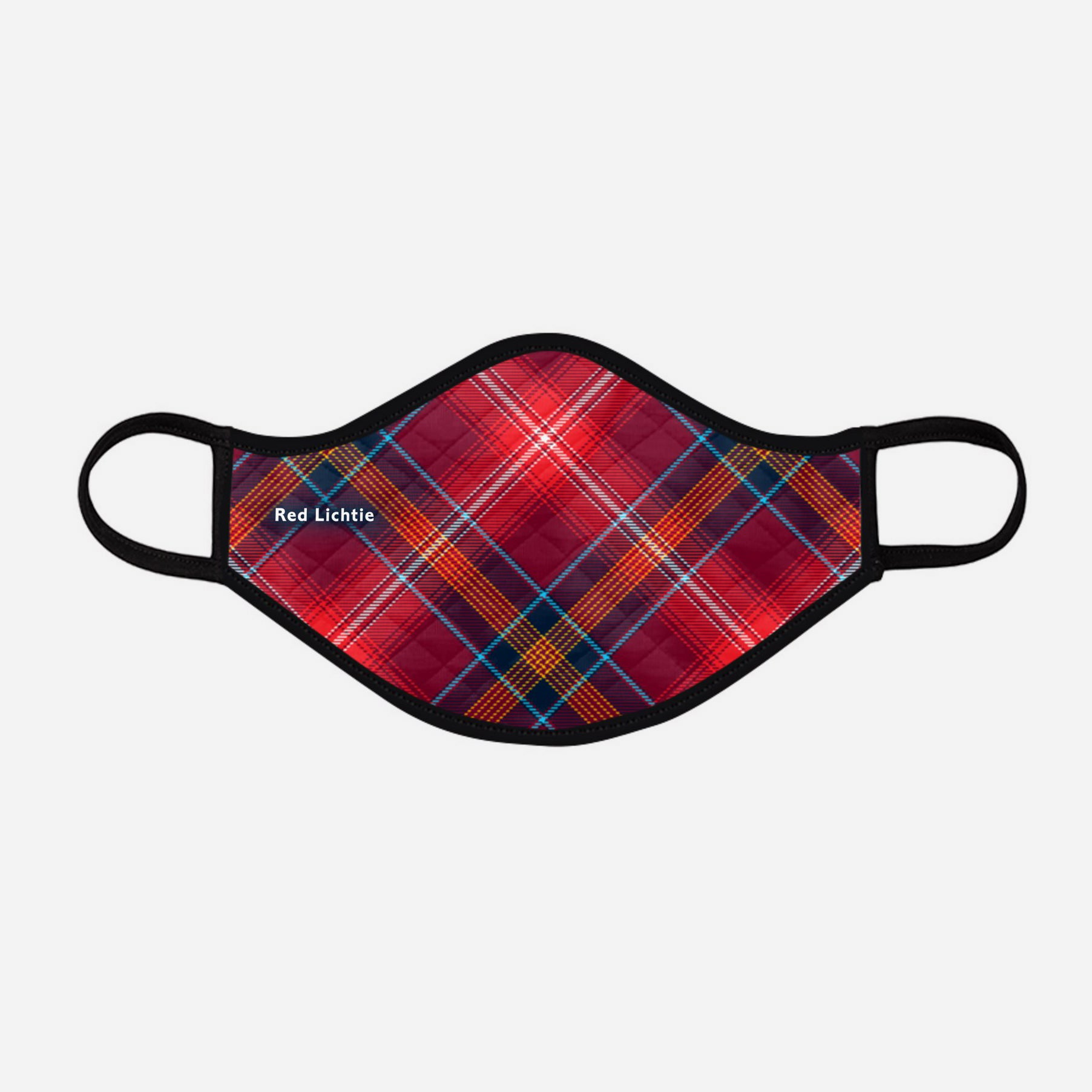 Red Reid Lichtie Lichties Tartan custom printed face mask - Large with badge - by the Steven Patrick Sim Tartan Artisan - Stevie Tartan Guy Arbroath, Scotland - mixed pack of 4 or 2