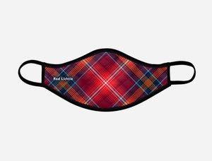 Red Lichtie Tartan Custom Facemask - with badge - Small - by Steven Patrick Sim the Tartan Artisan