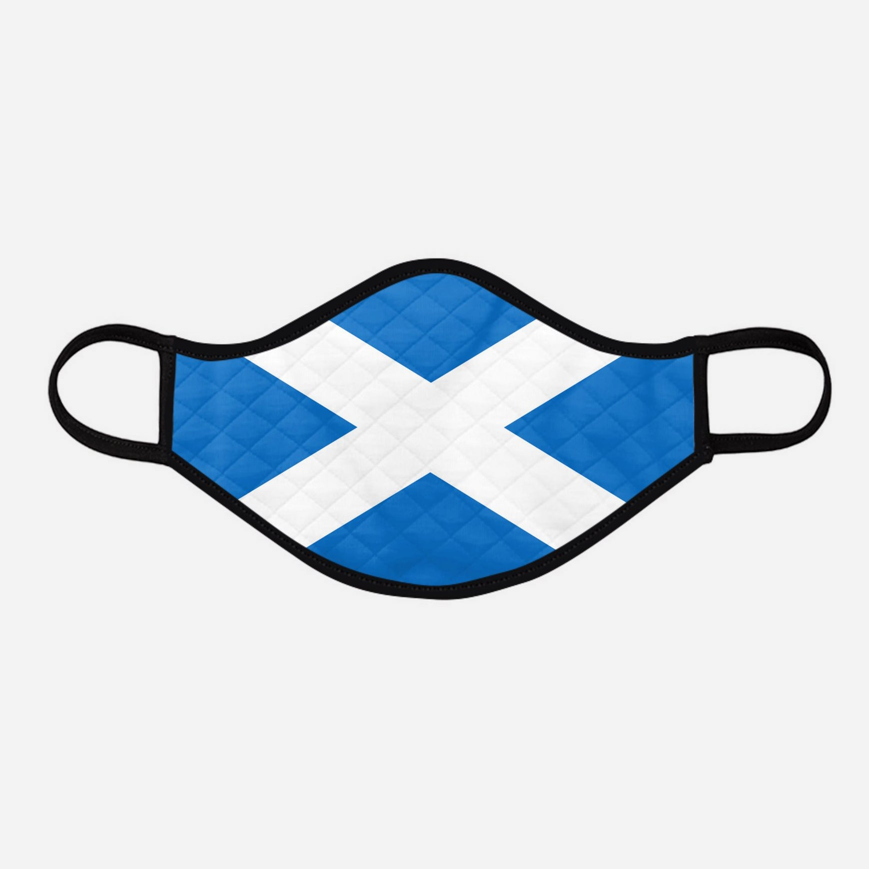 Contoured Face Mask - face covering - Nicola Sturgeon - Scottish Scotland Scots Saltire St Andrew's Cross - by Steven Patrick Sim the Tartan Artisan - Stevie Tartan Guy - large