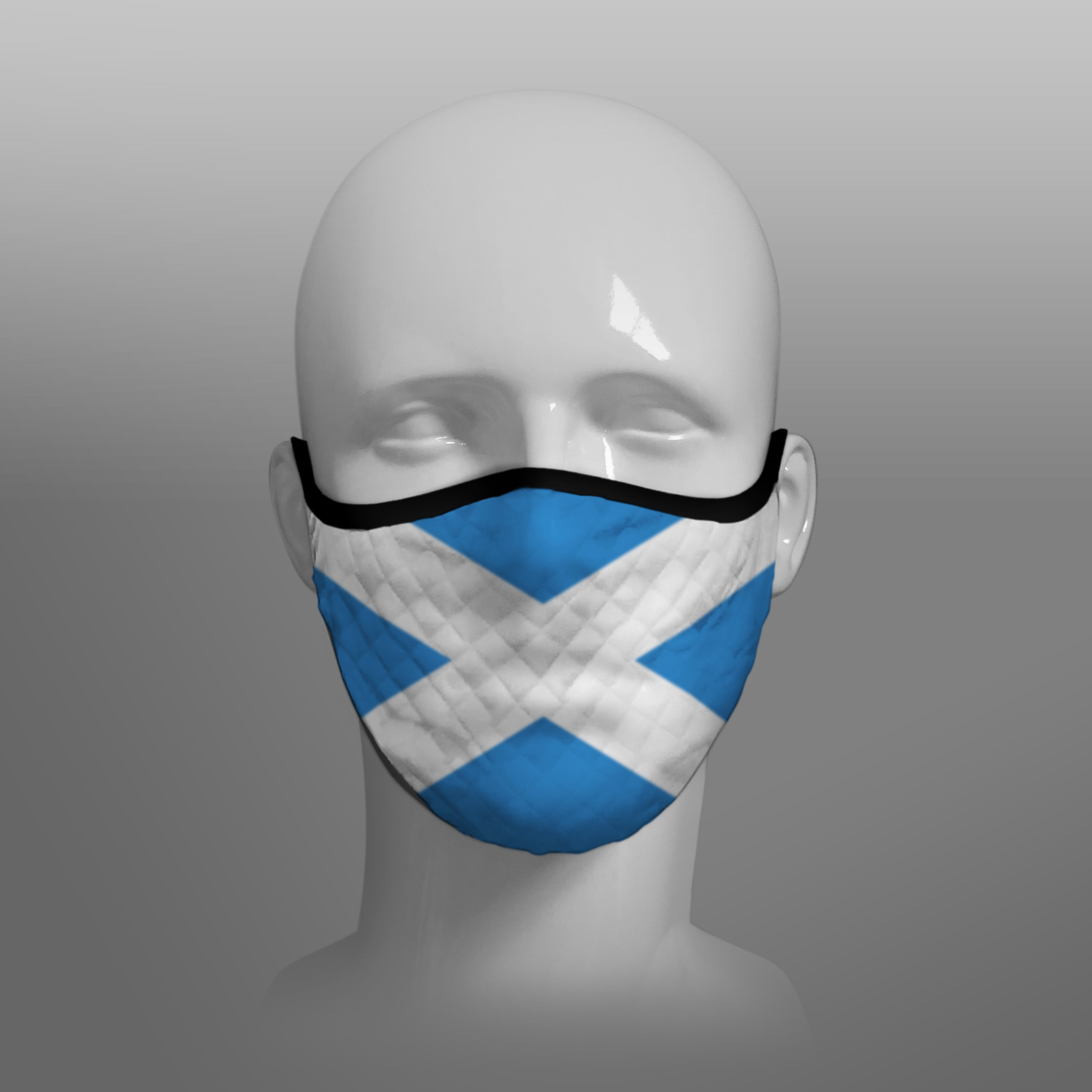 Contoured Face Mask - face covering - Nicola Sturgeon - Scottish Scotland Scots Saltire St Andrew's Cross - by Steven Patrick Sim the Tartan Artisan - Stevie Tartan Guy - medium